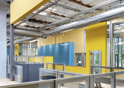 Exposed throughout the facility, all building utilizes were arranged to support the spatial organization established by the partition walls.