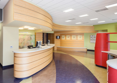The geometry of the reception desk and juice bar, as well as the surrounding soffits and benches, was generated by the projected movement pattern of people through the space.