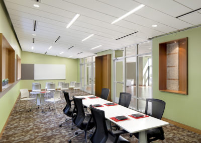 The meeting space was to be used as both an annex to the performance/reception as a place for breakout sessions in the event of a conference, or as a study space for students.