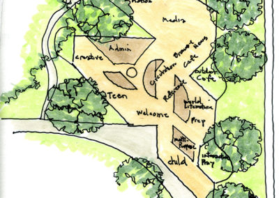 Plan sketch of floor plan set into the park site