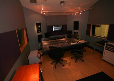 The walls and ceilings of the Sound Mixing Rooms were set at multiple angles along all three axes to meet specific acoustic requirements.
