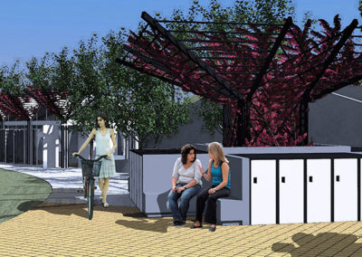 An architectural language created from the roof shapes of the Pavilion in the background, incorporated the shade trellises used at the Bus Stop and extended to the structure at the center of the Bicycle Lockers