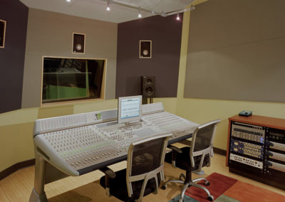 Each sound mixing room was configured to work with the mixing equipment planned for the room. Wall angles and finished surfaces having a range of different absorptive or reflective qualities, were specifically configured to meet the equipment's requirements.