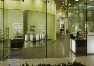 View from the exterior entranceway through the reception area to the student store