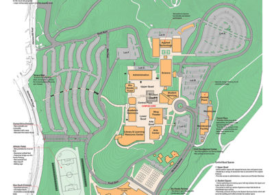 Campus plan showing athletic fields to the south, with the renovated and expanded Physical Education Building; The proposed Rio Hondo Parkway which would provide a new main entrance and automobile drop-off at the entrance to the new Student Services Budding and the Lower Quad; Technology Quad, just north of that, formed by the renovated Applied Technology and Sciences Buildings. The renovated School for the Administration of Justice is shown to the far north.