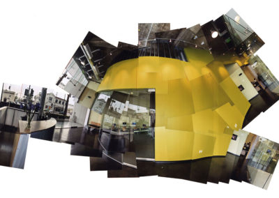 Collage of printed photographs showing  movement along the curved wall from the lobby/reception area, past the student store and student lounge to the entrance to the administrative offices