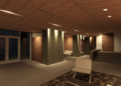 Alternative Design alternative design with curved wood ceilings and tile-clad piers.