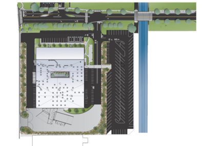 Site plan showing roadway form Buena Vista Street on the west to the bridge crossing he flood control channel. The FLASH building and its parking are along the south side of the roadway. Bio-swales that capture 100% of the storm water falling on the paved surfaces of the roadway and parking areas are visible throughout the project area