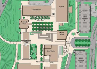 Campus Core showing interior spaces adjacent to exterior spaces