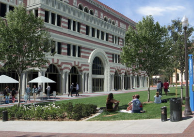 Looking north across the lawn area, along the east face of the Annenberg School