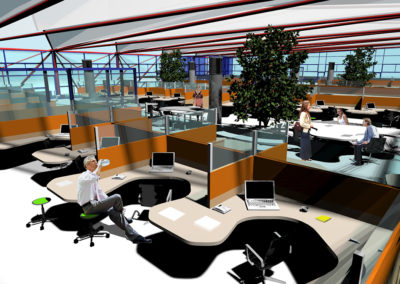 Elevated view above open office space. Wheel-mounted work surfaces capable of nesting together in several different configurations are visible between rows of fixed workstations. The work surfaces are capable of accommodating a variety of dynamic workgroup arrangements.