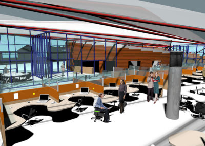 Elevated view above open office space, overlooking fixed workstations to the building entrance lobby and meeting room to the east. The circular form of the conference center continues into the building interior and includes the reception/security desk, visible in the background.