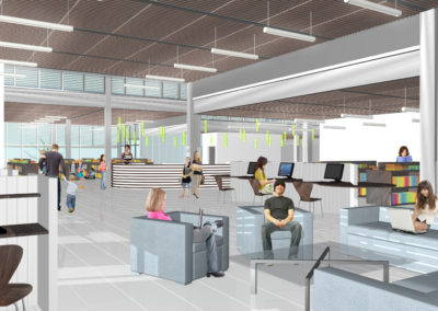 Interior view of the central space of the Library, the circulation desk is visible in the background. Movable furniture allows for multiple uses within this area, permitting flexible programming and change of uses over time. The height differential between this space and the surrounded volumes made places for operable clerestory windows. The crenelated footprint of the building would allow for an abundance of daylighting and views to the outdoors from any part of the building.