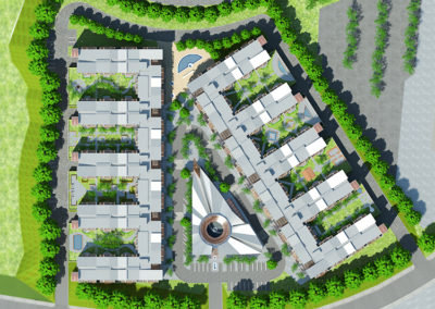 Overall site plan view. On-grade parking is accessed from the perimeter roadway. The triangular Central Village Pavilion, with its circular courtyard, is clearly visible, as are the cafés and shops that form the street edges surrounding the Pavilion. The garden level, which forms the roof of the parking, is visible between the wings of the residential buildings on both edges of the project.