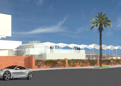View of the proposed building from across Ocean Avenue, with the shade canopy over the reception terrace prominently featured