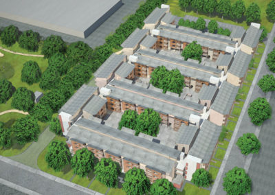 Overhead view from the southwest. The center of each courtyard extends to the ground level, enabling substantial trees to be planted.  They give shade and character to each space. At the garden or podium level, most shared amenities and some apartments occur in the spaces that surround the courtyards.