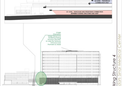 Building elevation and section diagrams indicating primary vehicular and pedestrian entrances.
