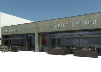 Overall view showing both restaurant fronts and their dining patios