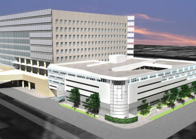 View from across Third Street and Sherbourne Drive depicts the proposed new cladding of the parking structure with the AHSP in the background. Proposed landscape improvements along Third Street would provide a shaded sidewalk and screen ground mounted equipment at the corner.