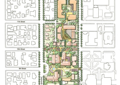 Proposed Campus Plan. The campus forms the western edge of the group of institutions known as the Claremont Colleges and mitigates between the college campuses and the residential neighborhood to the west. By concentrating parking, the proposed plan would reduce automobile traffic around the campus, increase the intensity of pedestrian activity through campus, and allow for the expansion of green space