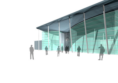 Entrance face of the one-story concept model