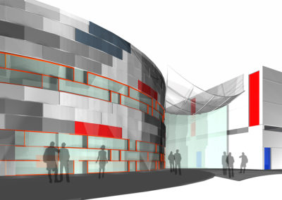 Zoomed-in view of two-story concept model for the street side. The intersection of the rectilinear gymnasium and the round form of the administration and support spaces building creates the space for the two-story entrance space of the building.