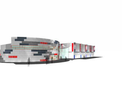 View of two-story concept model along the street side of the building