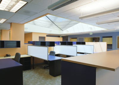 View across the open workspace below the skylight. The fabric scrim was shaped to effectively bounce light from light fixtures mounted to the walls within the celling recess below the skylight. This configuration enabled the skylight space to became a source of indirect, artificial light in the evenings.