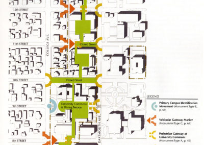 Diagram indicating proposed/enhanced pedestrian green spaces and campus entrance points