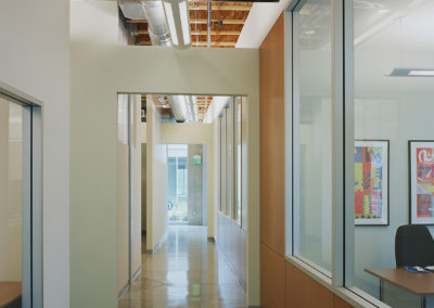 View along ground floor hallway. Medium density fiberboard panels were used as the finish of the angled wall that forms the long edge of the office spaces on this level. They help to differentiate it further from the orthogonal walls that create the service spaces.