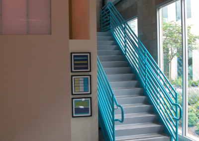 View at second floor landing of the stair from reception