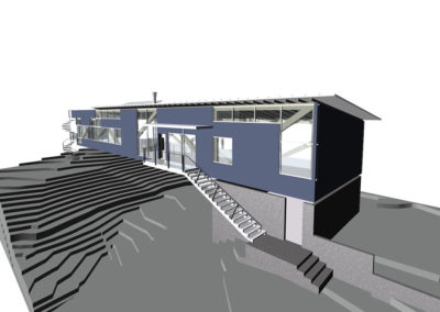 View of computer model from a slightly elevated vantage point. The entrance stairs lead to a balcony outside of the main living/dining room, providing access and outdoor living space.