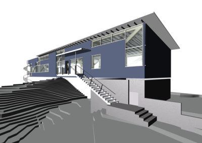 Eye level view of computer model from the southwest, near the street, front entrance stairs and garage, which is the only program enclosed program element on the ground level. The enclosure of the second floor spaces is independent of the spanning structure, which consists of two parallel, story high wood trusses which allow the building to span the stream and its flood banks.  A spiral stair that provides access to the other side of the river is visible at the far end of the house.