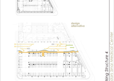 Ground level plan diagrams indicating existing and proposed pedestrian pathways.