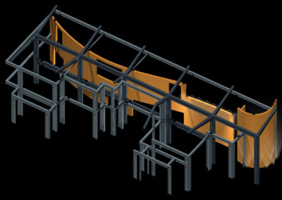 Computer model showing just the structural steel framing and the serpentine wall, the two elements that organize the house.