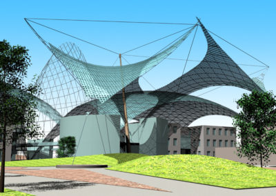 Tensile structure shade systems cover the transition spaces between the Research Center and the Town Center.