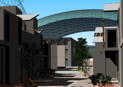 View long along a pedestrian path within the Residential Village, with a dome of the Research Center in the background.
