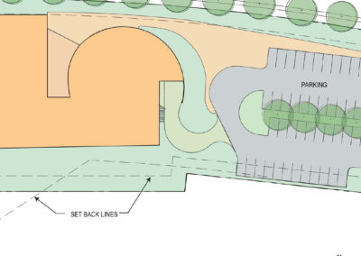 Partial site plan of the two-story concept
