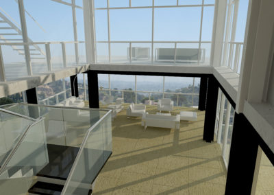 View form the second level over the entry hall toward the east and the view of Downtown Los Angeles.