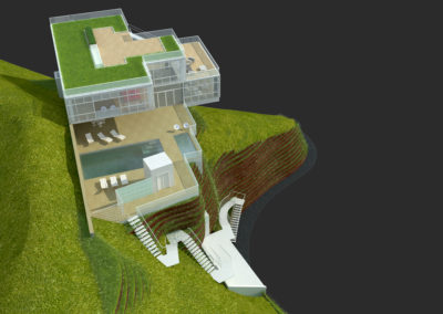 View of rendered computer model depicting both the stairs and elevator arrival platform, the pool and entrance decks, the shaded patio, the roof decks and gardens.