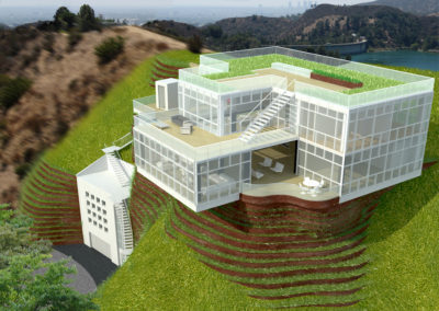 View of the rendered computer model, from the north, set into a photograph of the context. On the second level and the roof garden, the vantage point would be above the ridgeline, allowing a view to Lake Hollywood and Century City beyond. The ocean at Redondo Beach is visible on clear days.