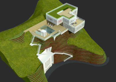 View of the rendered computer model, from above. All components of the project are visible: the volumes of the main house with rooftop living and garden spaces; the pool deck, the garage at street level; and the series of stairs along the retained hillside.