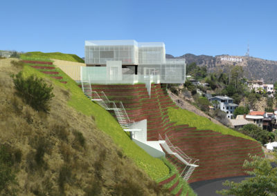 View of the rendered computer model, from the south, set into a photograph of the context. The Hollywood sign and the Griffith Observatory are clearly visible from the house, as would be Downtown Los Angeles.